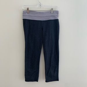 Lululemon Gray Crop Leggings w/ Purple Waistband 6